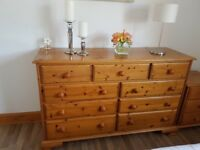 Solid pine set of drawers in three over six style. H 90cms W 144cms D 45cms