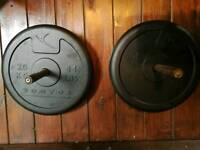 2 x 20 kg rubber weights Domyos