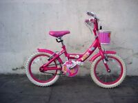 "Girls Bike by Bumper, Pink, 16 "" for Girls 5+ Years, Like New!!JUST SERVICED / CHEAP PRICE!!!!!!!!!!"