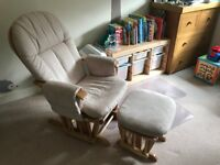 Tutti Bambini Deluxe Reclinable Glider Chair and Stool - Natural