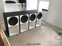 "Full size 15"" scoop bass bin PA speaker boxes (per box)"