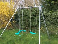 Childrens Garden Swing - Twin style with interchangeable seat from flat to baby seat.