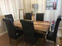 Hand made table and 6 chairs, great condition, additional matching side unit also.