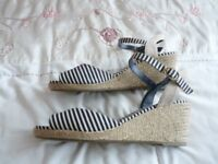 M & S 'Collection' navy/white wedge espadrille - as new - size 8