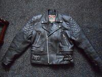 black leather motorcycle jacket size 42 made by akaso