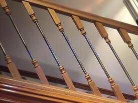Wooden and metal stair railings