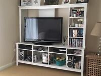 White Tv stand cabinet shelving