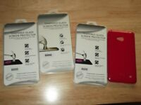 lumia 640 LTE gel case/ 3 tempered glass screen protectors as new boxed