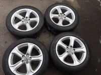 "For Sale 4 genuine 17""Audi alloys and tyres. Tyre's have 5 & 6mm tread, rims are excellent condition"