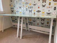 John Lewis Glass top desk