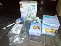 Breastfeeding bundle, Avent breast pump, Lansinoh breast pads & milk storage bags