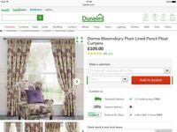 DORMA PLUM BLOOMSBURY PINCH PLEAT CURTAINS/LAURA ASHLEY STYLE £105 CURRENTLY IN STORE 228x228 cm