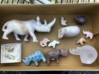 A collection of Soap Stone and Glass Animals