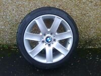 ALLOYS X 5 OF A COMPLETE SET OF 17 INCH BMW 3 SERIES /1 SERIES POWDERCOATED INA SILVER SPARKLE NICE