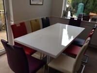 White gloss dining table and chairs for sale