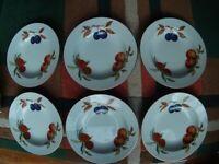 Set of 6 Evesham Gold Pasta / Soup Bowls plus Deep serving bowl.