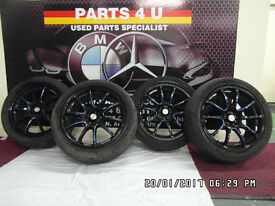 """17"""" CALIBRE FRICTION BLACK BLUE ALLOY WHEELS WITH TYRES"""
