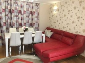 Red Leather corner sofa and armchair