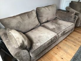 Three seater fabric sofa and matching armchair