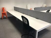 6 x White A-Frame Office Desks with Screens.
