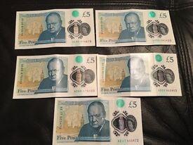£5 notes Ac, Ad, Ae