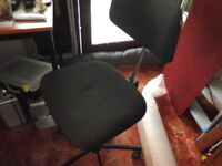 2 typist chair in black material reasonable condition home use only
