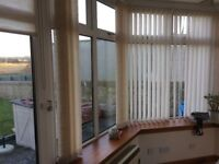 Vertical and roller blinds from conservatory