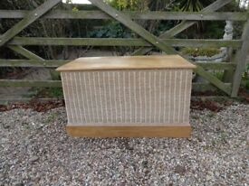 SOLID WOOD --CHEST /TRUNK /OTTOMAN--WITH WICKER SURROUND--LARGE SIZE --