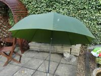 "Fishing Umbrella. 6' diameter when open. Pole 52"" long extending to 77"" with tilting joint."