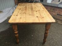 Antique pine waxed table and 2 upholstered chairs