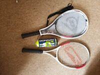 Slazenger and Dunlop tennis rackets