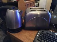 kettle and toaster set in stainless steel set