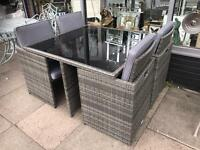 Rattan 5 Piece Cube Furniture Set - Grey