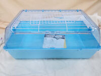 Small Animal Indoor Cage Blue Plastic with Wire Lid