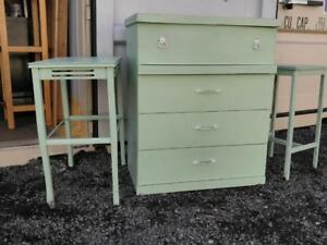 Oakville DRESSER  & TWO HIGH TABLES Vintage SHABBY CHIC Light Cottage Green Mint Retro Antique Midcentury Country Rustic