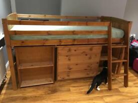 Solid wood bed with table and storage cabinet
