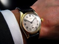 Stunning Rare! 1936 ROLEX OYSTER IMPERIAL 2574 Chronometer SOLID GOLD Midsize Watch Pie pan Dial