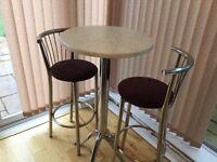 Tall bar table and stools