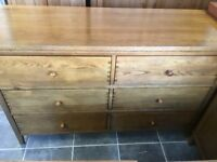 LARGE SOLID WOOD CHEST OF 6 DEEP DRAWERS COST £449 WHEN BOUGHT BARGAIN AT £195 GREAT CONDITION