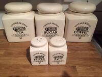Set of 5 ceramic storage jars