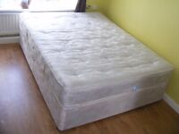 CAN DELIVER - KING SIZE BED WITH MATTRESS - HAS SMALL MARKS FROM TRANSPORT - OTHERWISE IN V.G.C.