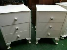 Pair of painted three drawer bedside cabinets