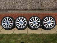 """Genuine Ford Fiesta ST 17"""" Alloy wheels complete with centre caps and tyres 6.5mm/5mm/5mm/3mm"""