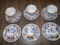 Tea Set Cups & Saucers x 6 Crown Staffordshire Blue & Gold