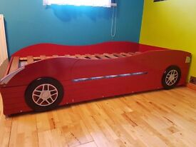 Boys racing car bed with guest bed