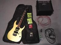 Electric guitar (ibanez) + amp + case + leads + pedals + more-- will swap