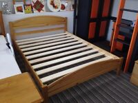£55 4ft6 Solid Pine, antique pine finish, double panel bed in a box frame, HUGE DISCOUNT just £55!