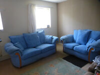 3 seater and 2 seater sofas with all cushions. Very comfortable.