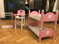 Doll Furniture - Bunk bed, high chair and clothes rail