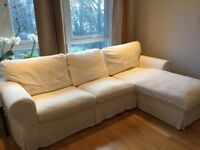 3-seat sofa with chaise longue / white